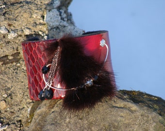Gifts for her, adjustable cuff bracelet red leather, recycled mink fur, handmade, exclusive