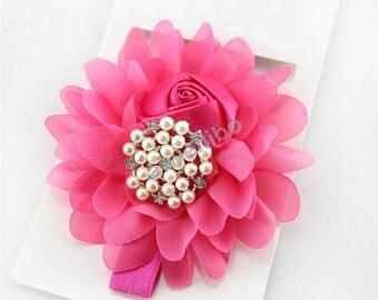 Chiffon Rose Flower Headband,Baby Girls Flower Headband,Rhinestone Headband