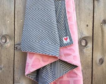Baby girl chevron blanket - chevron and hearts baby blanket - grey and pink baby blanket - baby shower gift - minky baby blanket