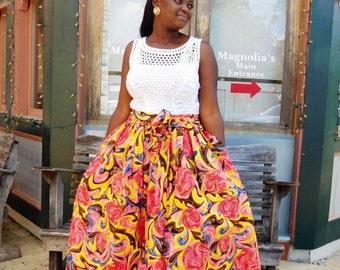NEW Yellow and Pink African Ankara Midi Skirt; African Clothing; African fashion; African Print; African Skirt