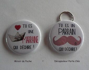 """Duo Cadeau Parrain Marraine """" qui déchire """" Décapsuleur Porte Clés Miroir de Poche."""