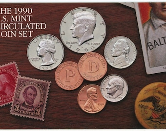 10 coin, 1990 United States Mint MS-65 Uncirculated coin set.  1473A