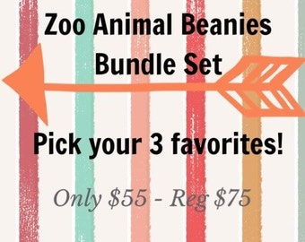 Zoo Animals Baby Beanie Set