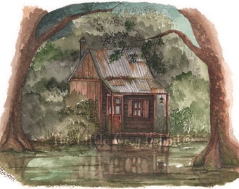 Swamp Art, Watercolor Print, Bayou Painting, Rustic Home Decor, Brown and Green Decor, Art Print, Swamp Shack, Country Home Decor