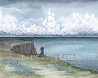 Landscape Print, Tall Ship Painting, Watercolor Print, Stormy Sky, Sea Art, Nautical Decor, Nursery Art, Fantasy Art Print, Pirate Ship Art