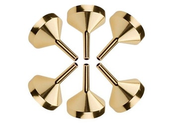 Perfume Funnel Set 6 Pcs - Gold Aluminum Metal Funnel for Refilling Small Empty Perfume Bottles, Atomizers and Essential Oil Bottles.