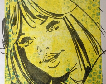 "Vintage Comic Inspired Monoprint ""Clara"""