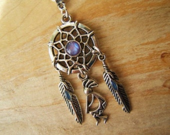 Dreamcatcher necklace with feathers & Kokopelli , Silver /lilac/purple. American Indian Folklore  Gift