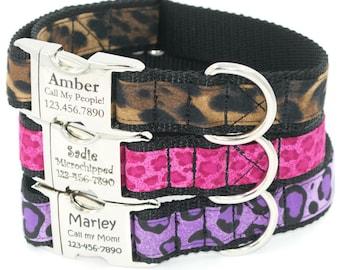 Animal Print Personalized Dog Collar, Laser Engraved Name Plate Dog Collars, Large Dog, Small Dog, Girl Dog