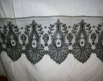 """Antique hand done black chantilly  lace 3 1/2"""""""