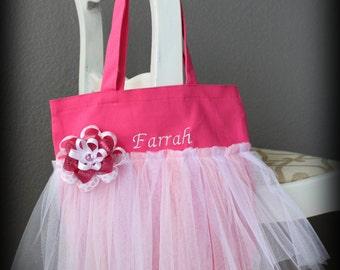 Girls Personalized Pink Tote Bag / Dance Bag / Tutu Tote / Monogrammed Tote / Tutu Bag / Birthday Bag / Gift Bag / Ballet Bag / Jazz Bag