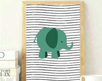 Green Nursery Print, Nursery Elephant Print, Green Baby Room Print, Kids Room Wall Art, Kids Room Print, Green Nursery Decor