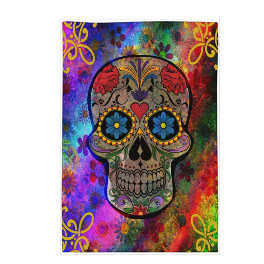 Funky Rainbow Colored Area Rugs: Funky Colorful Sugar Skull Area Rugs Or Throw Rug Woven Dobby