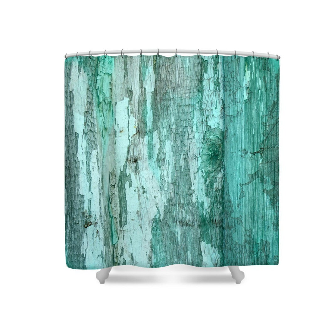 Shower curtain rustic primitive turquoise green weathered - Green and turquoise curtains ...