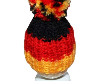 Egg-warmer set of 2 knitted Yellow Green Black White Red