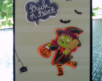 Halloween Card, Happy Halloween, Witch Halloween Card, Trick or Treat, Childs Halloween Card, Kids Birthday Card, Boys Card, Girls Card