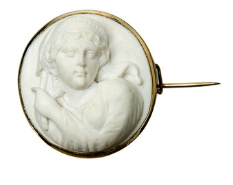 antique high relief carved white lava cameo brooch in 14k