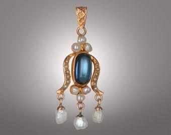 Art Nouveau Victorian blue sapphire & pearls lavaliere 14k