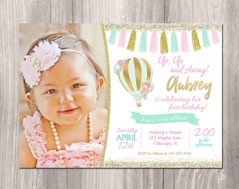 Hot air balloon invitation, pink mint and gold birthday, pink and gold, First birthday invitation, 1st birthday, printable invitation