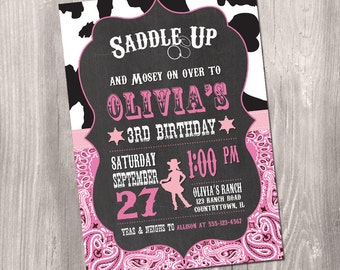 Cowgirl Birthday Invitation - Printable Cowgirl Birthday Invitation - Cowgirl Party Invite - Pink Black Cowgirl Invitation - Wild West Party