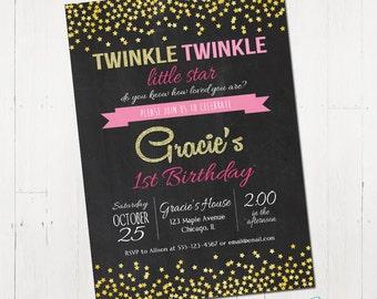 Twinkle twinkle little star invitation, chalkboard invitation, gold, pink, glitter, 1st birthday invitation, printable invitation, digital