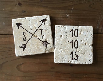 Custom Wedding Date Stone Coasters in Chocolate Brown (Set of 2)