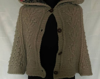 Upcycled Woollen Cape with Hood