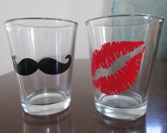 His and Hers Shot Glasses, Wedding Shot Glasses, Mustache Shot Glass, Lips Shot Glass, Set of 2