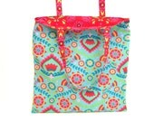 Eco Friendly Reversible Market Tote Reusable Bag Folding Shopping Bag Fabric Grocery Library Yoga Bag Light Blue Red
