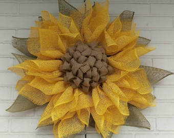 Yellow Poly Burlap Sunflower Wreath with Moss Green Leaves