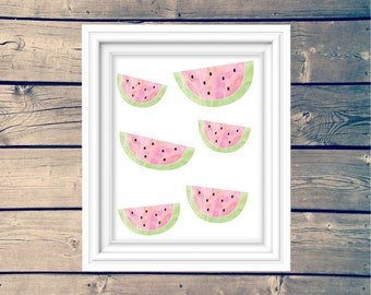 Watermelon watercolor art print, cute summery wall art, watermelon printable art, kid's room decor, playroom art, pink watercolour print