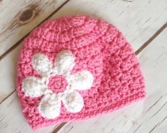 Daisy hat, baby hat, crochet baby hat, pink crochet hat, pink baby hat, baby girl hat, hats for babies, crochet baby girl, newborn hat