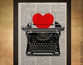 SALE -ships Oct 18- Typewriter Dictionary Art Print Heart Valentines Day Love Romance Wall Art Home Decor Gift Ideas Romantic da627