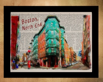 Boston North End Dictionary Art Print Massachusetts Italian Neighborhood Wall Art Home Decor Gift Ideas da1180