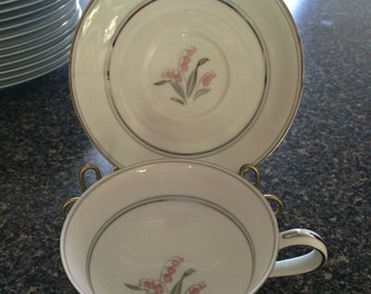 Noritake Crest Cup and Saucer (6 each) 5421