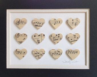 """Vintage, music sheet, hearts, 3D, Paper Art, 8""""x10"""", 3D paper art, music, wall art, music notes, compositions, heart"""