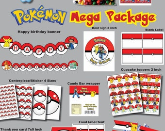 INSTANT DL-  Pokemon go birthday party package kit Digital JPEG file (non personaized)