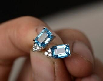 Swiss Blue Topaz Earrings Stud Sterling Silver Emerald Cut Earrings