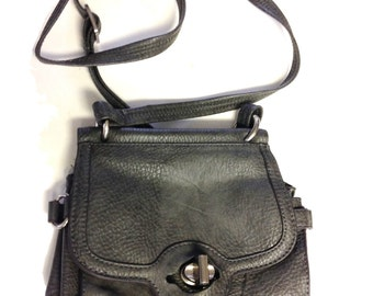 Coach Grey Pebbled Leather Small Shoulder Bag