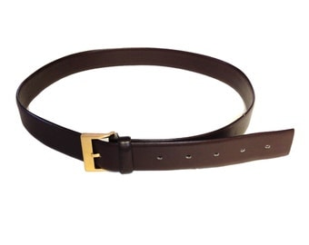 L'Aignon French Calf Skin Brown Leather Belt - Made in France - 95/38