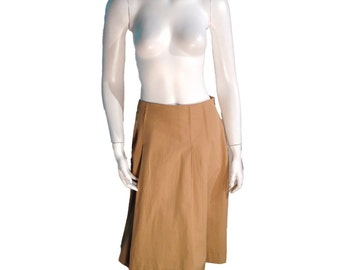 Barneys New York Muted Gold Knee Length Pleated Skirt - Made in Italy - Size 44