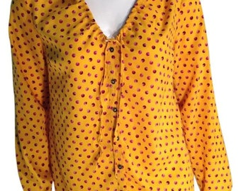 Marigold Patterned Buttondown Top - Size Small