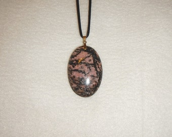 Oval Black and Pink Rhodonite pendant (JO451)