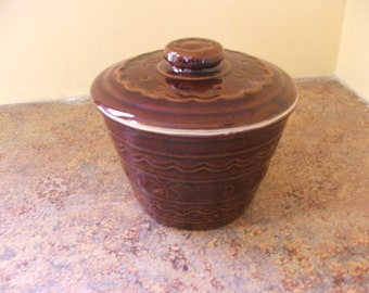 Vintage 1950s Mar-Crest Daisy and Dot Small Covered Jar - Warm Colorado Brown Glaze