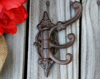 wall hook, Iron hook, coat hook, French vintage hook, cast iron hook, Swivel Wall Hook, Three Arm Hook,  Iron Hook, 6 year iron anniverary