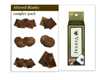 Vintaj 27 Blanks Sampler Pack Altered Blanks in Natural Brass, BONUS Reliefing Block! Jewelry Making, Scrapbooking--Free Fast Shipping!
