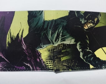 Arrow - comic book wallet, slim wallet, hanmade wallet, card holder, thin wallet, vinyl wallet, mens wallet, custom comic book wallet