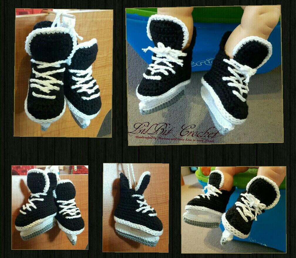 Free Crochet Pattern Baby Hockey Skates : Handmade Crochet Baby Ice Hockey Skates baby booties baby