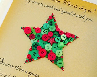 Button Art - Christmas Art - Christmas Decor - Framed Button Art - Holiday Memorial Gifts - Holiday Sympathy Gifts - Button Christmas Star