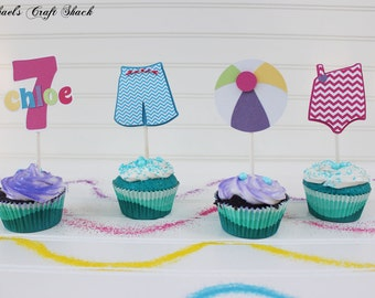 Pool Party Birthday Cupcake Toppers